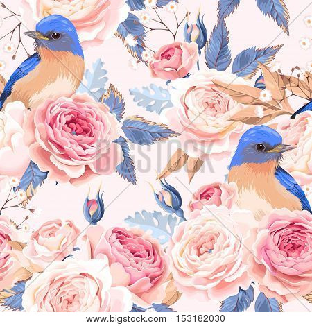 Vintage roses and birds vector seamless background