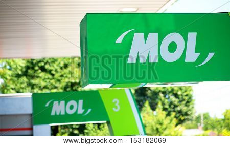 GALATI ROMANIA - June 28 2016. MOL gas station. MOL Group (Hungarian Oil and Gas Public Limited Company ) is an integrated oil and gas group in Hungary
