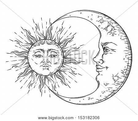 Antique style hand drawn art sun and crescent moon. Boho chic tattoo design vector illustration