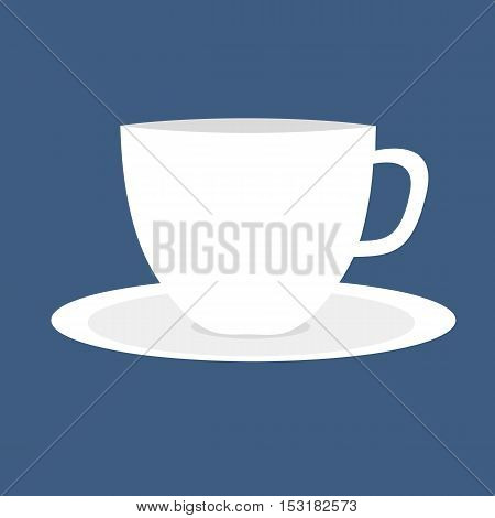 Simple white cup and saucer on isolated blue background.