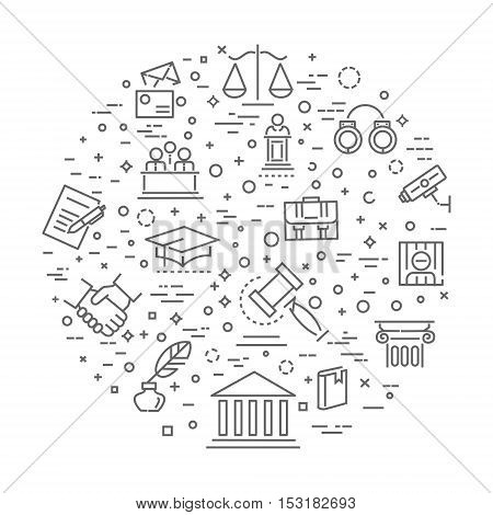 law concept illustration, line design vector template