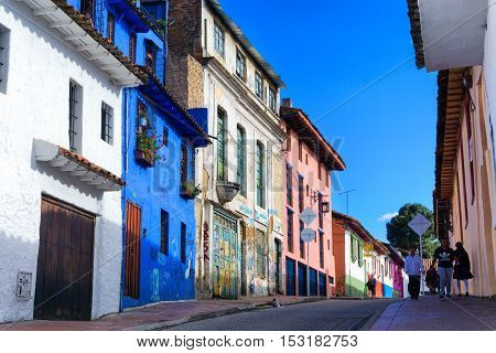 BOGOTA COLOMBIA - APRIL 21: View of a street in La Candelaria neighborhood in Bogota Colombia on April 21 2016