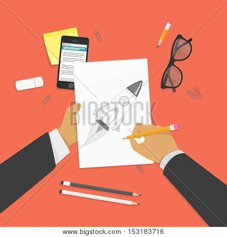Hands holding pen and draws on clipboard. Drawing school concept. Vector modern illustration in flat style. Desktop designer or artist top view.