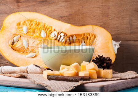 Pumpkin porridge on wood desk. Food background