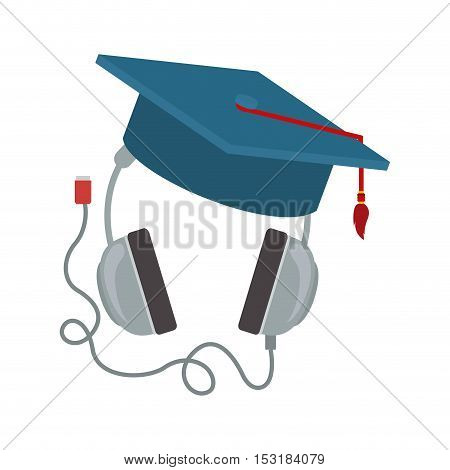 headphones device with graduation cap over white background. vector illustration