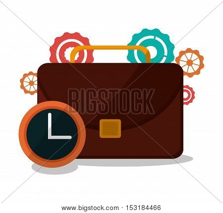 Suitcase gears and clock icon. Business supplies management and workforce and theme. Colorful design. Vector illustration
