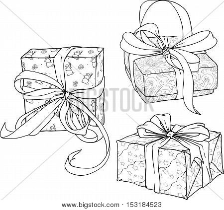 Black and white isolated image of three christmas gift boxes.