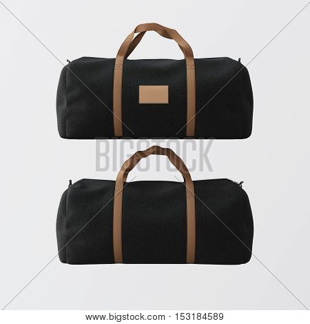 Black cotton textile sport fashion bag with brown handles isolated at white background.Empty mockup label on the front side.Double sided mock up.3D rendering.