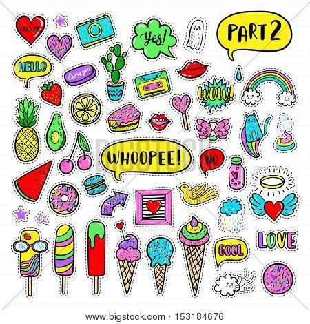 Vector hand drawn patches: ice cream cactus watermelon camera rainbow cat cloud lip heart speech bubble. Modern set of pop art stickers patches pins badges in 80s-90s cartoon style