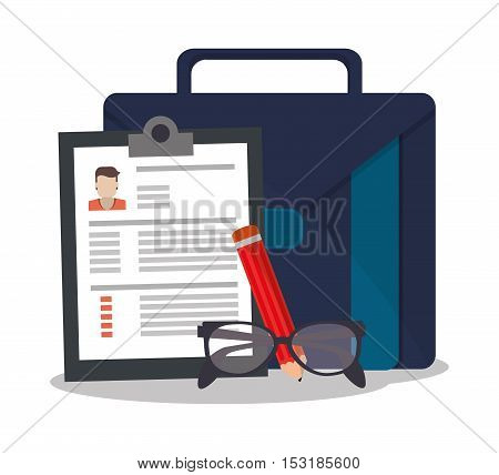 Document glasses pencil and suitcase icon. Human resources search employee and business theme. Colorful design. Vector illustration