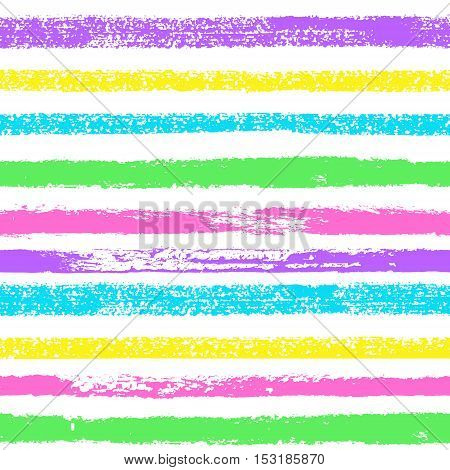 Vector grunge hand drawn colorful abstract stripe seamless pattern. Pop art ink marble fabric texture. Blue purple pink yellow fashion abstract background in 80s-90s color cartoon style.