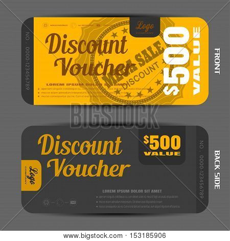 Blank of discount voucher vector illustration to increase sales on the yellow and dark gray background with label.
