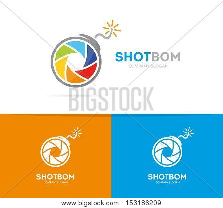 Vector logo combination of a camera shutter and bomb. Photography and focus logo. Lens and bomb symbol or icon. Unique photo and zoom logo design template. Creative photo camera bomb logo.
