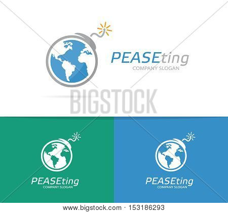 Vector logo combination of a earth and bomb. Globe and terrorism logo. Planet and bomb symbol or icon. Unique conflict and warming logo design template. Creative world, global, ecology bomb logo.