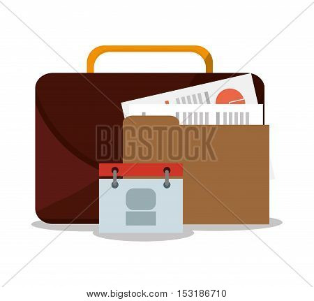 Suitcase calendar and file icon. Business supplies management and workforce and theme. Colorful design. Vector illustration