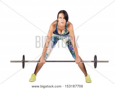 one beautiful fitness woman sport exercising squats with dumbbells on white background