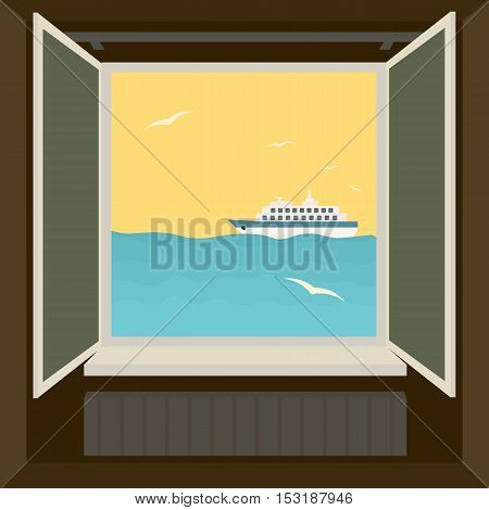 Window to sea. Floating boat and flying birds.