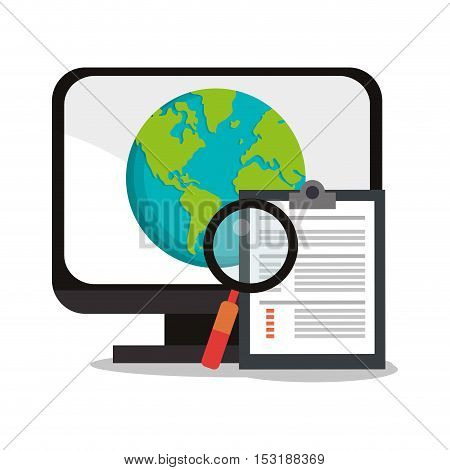Computer planet and lupe icon. seo search internet marketing and web theme. Colorful design. Vector illustration