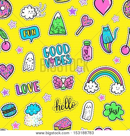 Vector hand drawn fashion pink color patches: rainbow doughnut mountain cat ghost cloud macaron cake lollipop heart seamless pattern. Modern pop art sticker patches pin badge 80s-90s style