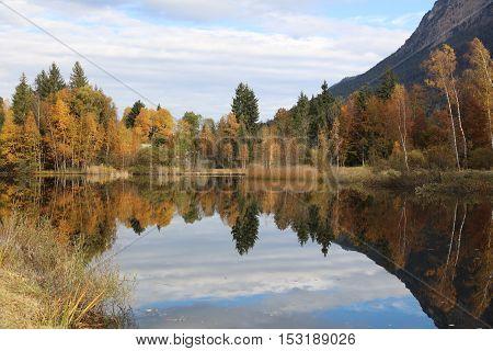 Pond at Oberstdorf in Allgau. Bavaria. Germany