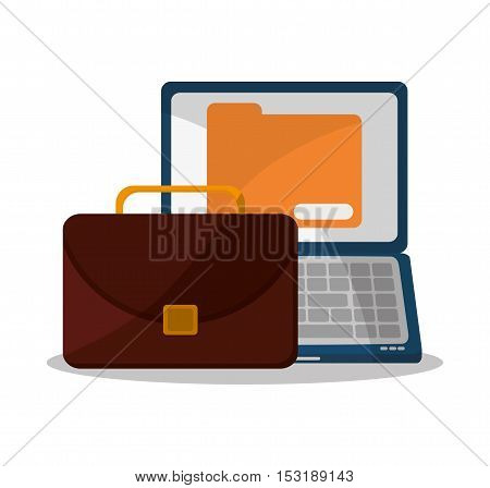 Suitcase laptop and file icon. Business supplies management and workforce and theme. Colorful design. Vector illustration