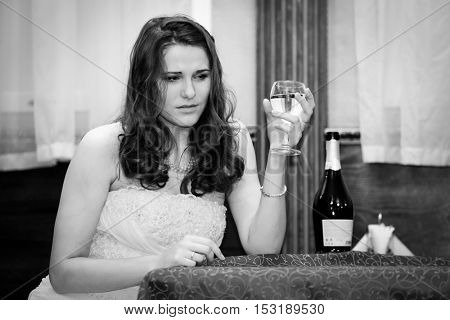 Portrait of a fiance in a sadness