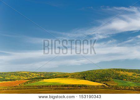 Colorful autumn landscape. Siberia Irkutsk region. Harvested field.