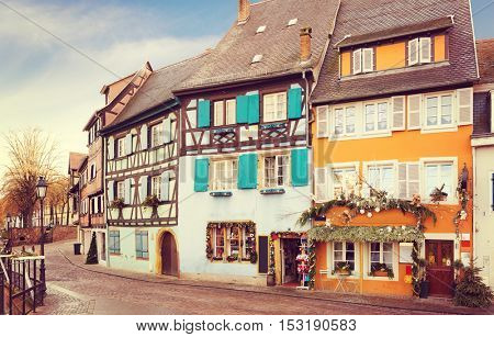 Old street in Colmar, France. Toned image