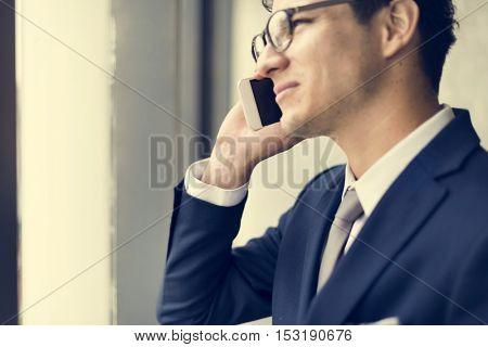 Businessman Smart Leaning Confident Suit Tie Concept