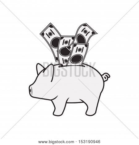 piggy moneybox with bills icon silhouettte over white background. vector illustration