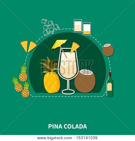 Cocktail recipe template of pina colada with ingredients in flat style isolated vector illustration