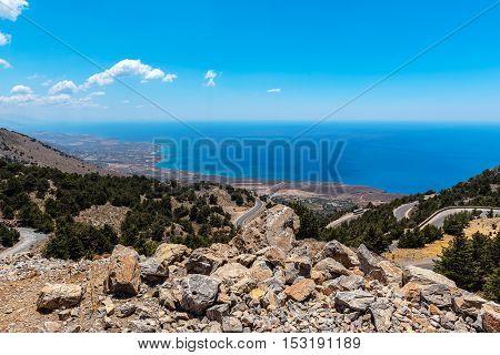 Mountain road to Chora Sfakion at sothern coast of Crete island, Greece