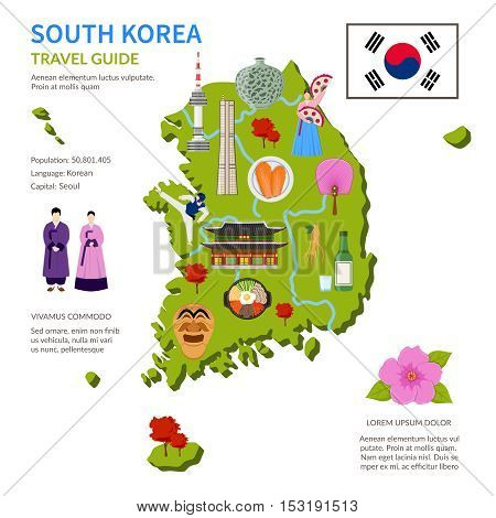South korea travel guide for tourists flat infographic poster with country map landmarks and cultural symbols vector illustration