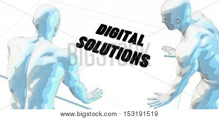 Digital Solutions Discussion and Business Meeting Concept Art 3D Illustration Render