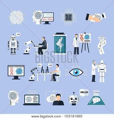 Artificial intelligence icons set with technology symbols flat isolated vector illustration