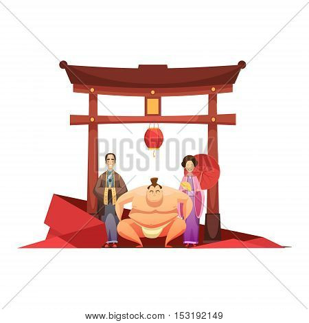 Japanese culture retro composition with pagoda sumo wrestler and in kimono dressed couple cartoon poster vector illustration