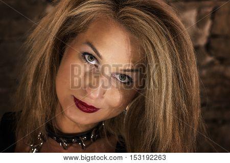 woman portrait in old castle. Helloween theme