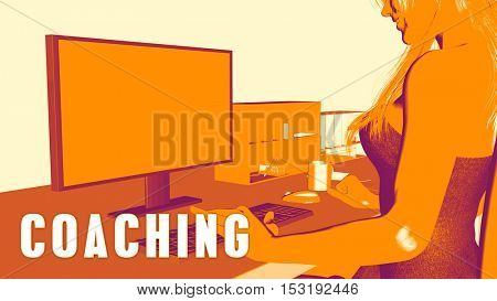 Coaching Concept Course with Woman Looking at Computer 3D Illustration Render