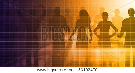 Career Development with Silhouette Background as Art 3D Illustration Render