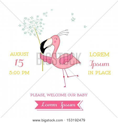 Baby Shower or Arrival Card - Baby Flamingo Girl flying with a Flower - in vector