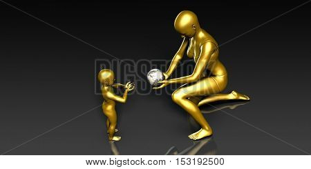 Parental Responsibility or Being a Good Parent 3D Illustration Render