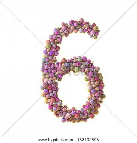 bubbles numbers 6, six, 3d illustration