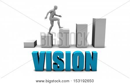 Vision 3D Concept  in Blue with Bar Chart Graph 3D Illustration Render