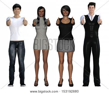 Diversity on the Internet and the Workplace with Different Races 3D Illustration Render