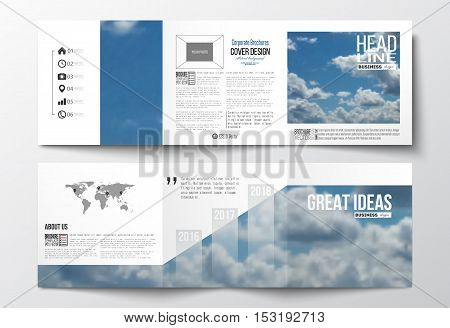 Set of tri-fold brochures, square design templates with element of world map. Beautiful blue sky, abstract background with white clouds, leaflet cover, business layout, vector illustration.