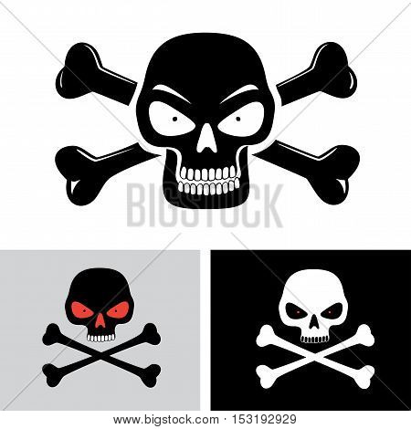 Simple illustration of angry evil skull with red eyes and bones on background isolated on white. Toxic, poison sign