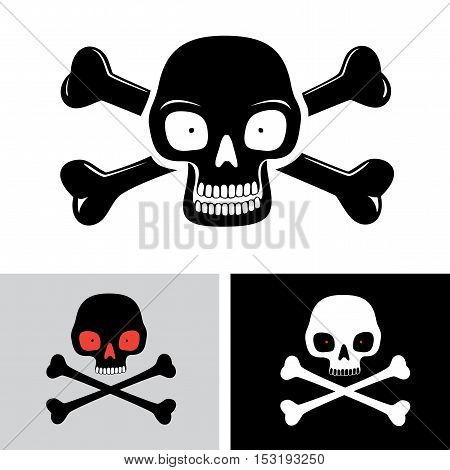 Simple illustration of human skull and bones on background isolated on white. Toxic, poison symbol