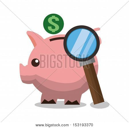 Piggy and lupe icon. Money financial item commerce and market theme. Colorful design. Vector illustration