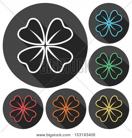 Four Leaf Clover icons set with long shadow