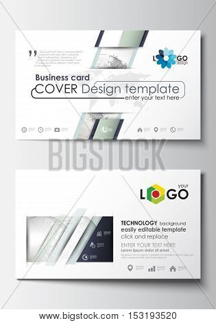 Business card templates. Cover design template, easy editable blank, abstract flat layout. Dotted world globe with construction and polygonal molecules on gray background, vector illustration